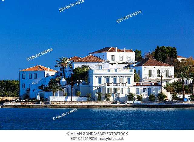 View of traditional architecture in Spetses village, Greece.