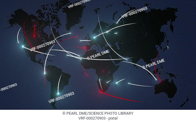 Conceptual animation showing internet traffic, with normal data traffic white and malicious traffic red. Occasionally a connected server is taken down by a...
