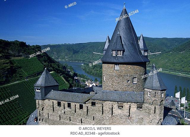 Fortress Stahleck and river Rhine Bacharach Rhineland-Palatinate Germany UNESCO Weltkulturerbe Mittelrheintal