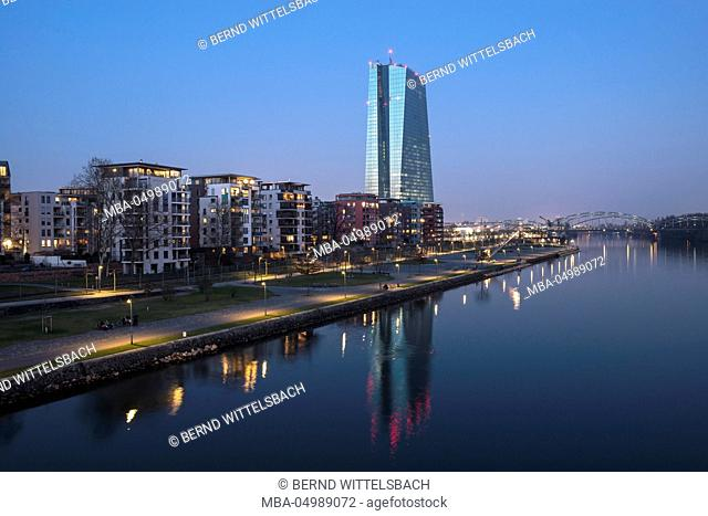 Germany, Hesse, Frankfurt am Main, the Main river, view to the Ostend with the new ECB building