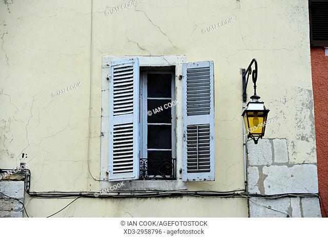 shutters and stret light, old town, Annecy, Haute-Savoie department, Auvergne-Rhône-Alpes, France