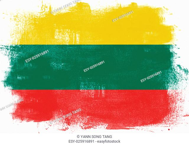 Flag of Lithuania painted with brush on solid background
