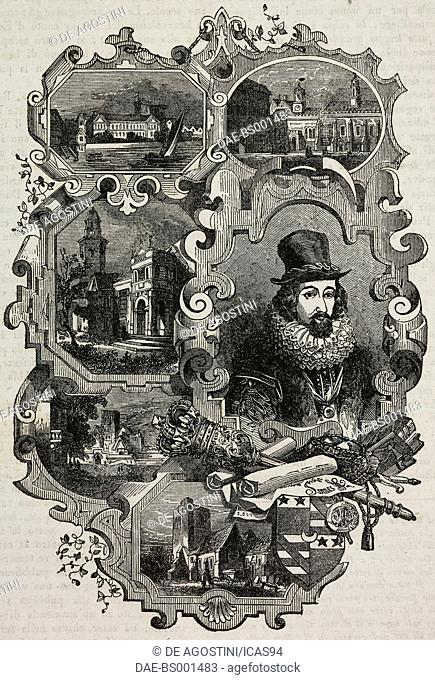 Francis Bacon: (from left to right, from top to bottom) York Palace; Old Gray's Inn; Gorhambury; the philosopher and the family crest; Highgate; the church of...