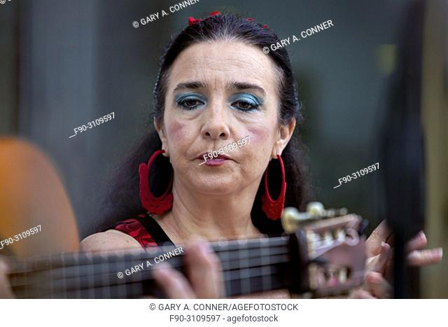 Flamenco singer and dancer performs, Salobreña, Spain