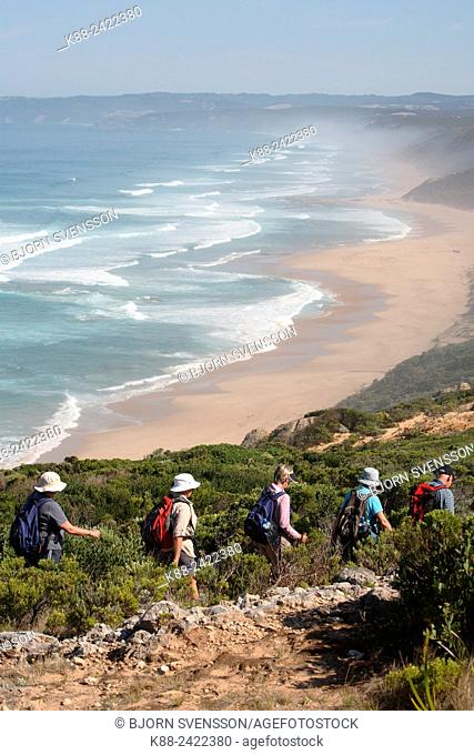 Bushwalkers along the Great Ocean Walk. Aire River Beach, Victoria, Australia