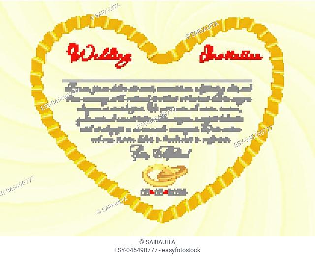Wedding invitation or card with ribbon form of a heart. Vector Image