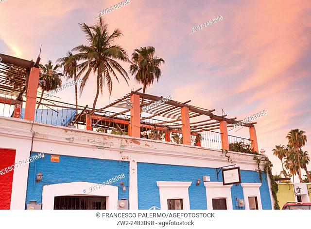 Coloured houses in a stunning golden hours time at the beach. San Jose del Cabo, Baja California Sur. Mexico