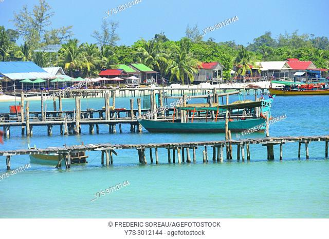 Old wooden pier of Koh Rong island, Cambodia, South East Asia, Asia