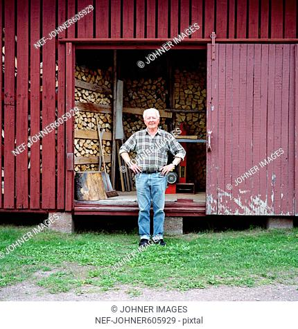 An old man by a woodshed, Sweden