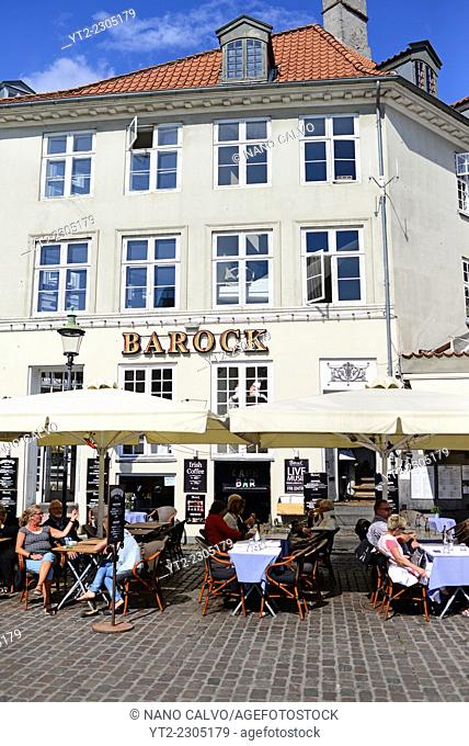 Barock restaurant in Nyhavn (literally: New Harbour), 17th-century waterfront, canal and entertainment district in Copenhagen, Denmark
