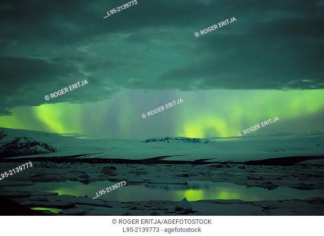 Aurora borealis sighted from the Jokullsarlon lagoon, Iceland