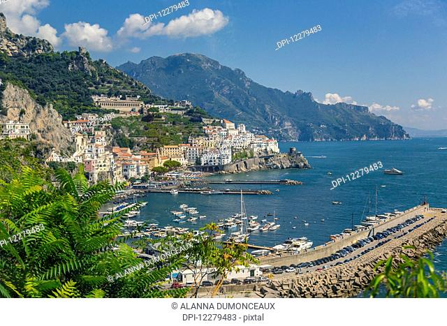 A view of the town of Amalfi and the Mediterranean Sea viewed on the scenic Amalfi Coast drive in Italy; Amalfi, Province of Solerno, Italy