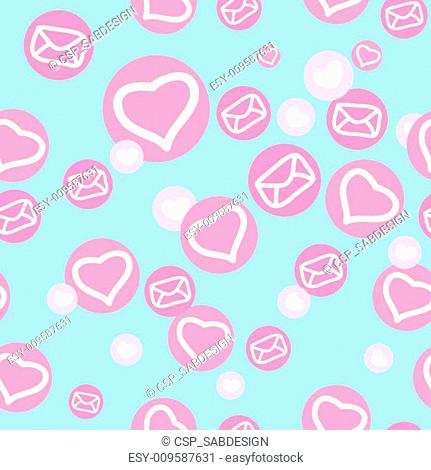 seamless texture with hearts and envelopes