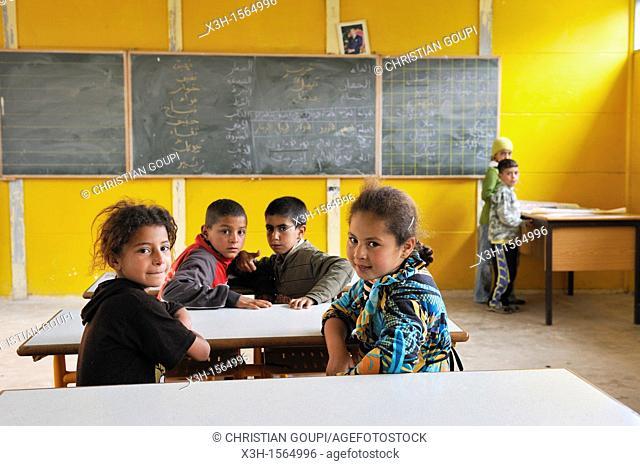 village's school, Oum-er-Rbia source, Khenifra region, Middle Atlas, Morocco, North Africa