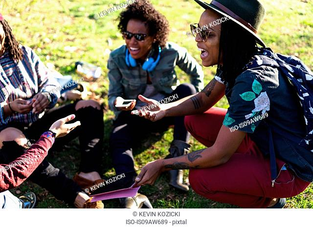 Group of female friends relaxing in park, laughing