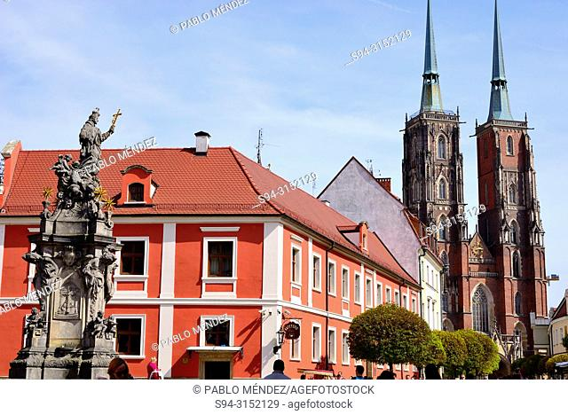Cathedral of Saint John Baptist and Katedralna boulevard, Wroclaw or Breslau, Poland