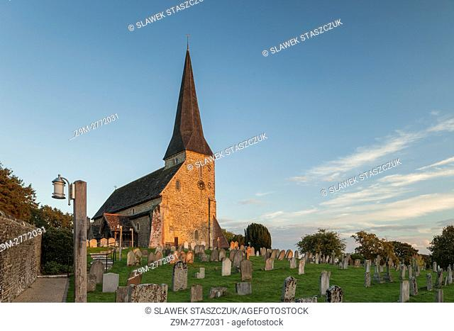 Sunset at St Michael church in Wisborough Green, West Sussex, England