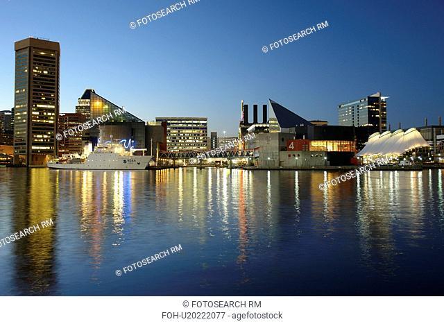 Baltimore, MD, Maryland, Chesapeake Bay, Downtown Skyline, Inner Harbor, evening