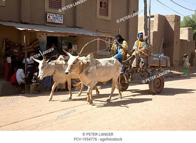 Ox cart, Monday Market, Djenne, Mali