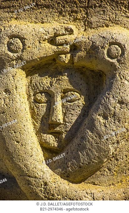 France, Auvergne, Cantal, 13th Century sculpture at the Church of the Assumption at Jou-sous-Monjou