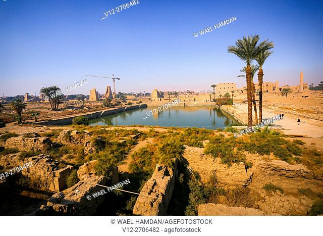The Sacred Lake of Precinct of Amun-Re, Karnak Temple Complex, Luxor, Egypt