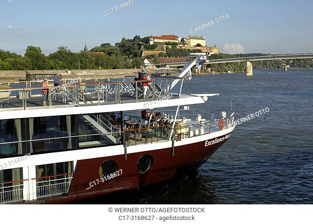 Novi Sad, Serbia, Novi Sad on the Danube, Province Vojvodina, District South Backa, Petrovaradin Fortress, Varadin Bridge, Danube bridge, cruiser, river cruise