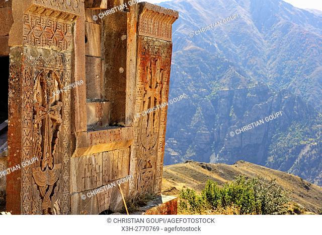 khachkars of St. Nechan church (Surp Nshan, 11th century) at Tsakhats Kar Monastery, near Yeghegnadzor, Vayots Dzor province, Armenia, Eurasia