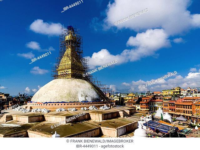 Scaffolding around upper part of Boudhanath, Boudha stupa, restoration after damage from 2015 earthquake, Kathmandu, Kathmandu District, Nepal