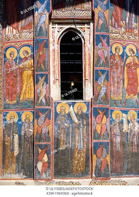 europe, romania, bucovina, moldovita monastery, frescos