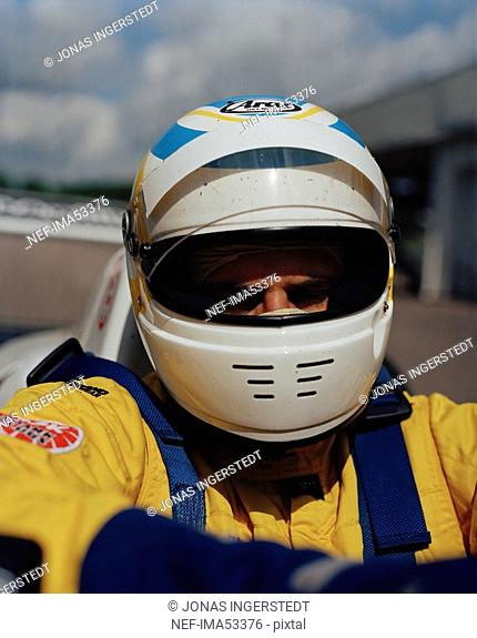 A driver in a racing var close-up Astorp Sweden