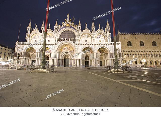 Venice, Veneto, Italy: Nightscape at Saint Marks square