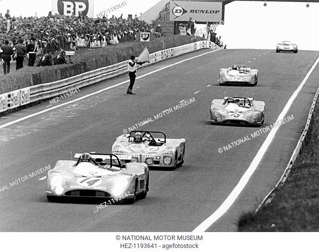 Matra-Simca 670 leading a Lola T280, Le Mans, France, 1972. The Matra of Francois Cevert and Howden Ganley leads the Lola of Joakim Bonnier