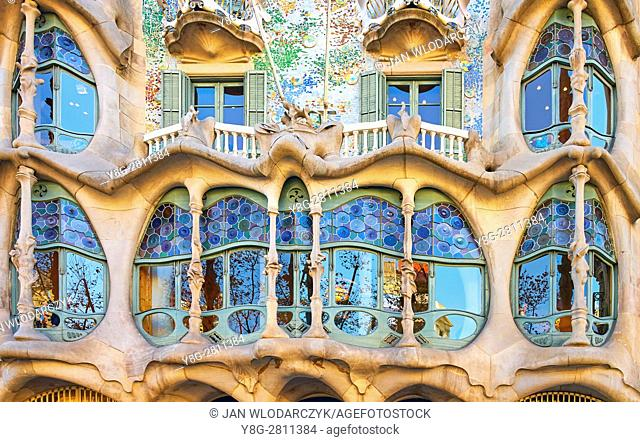Casa Batllo house design by Antonio Gaudi, Barcelona, Catalonia, Spain