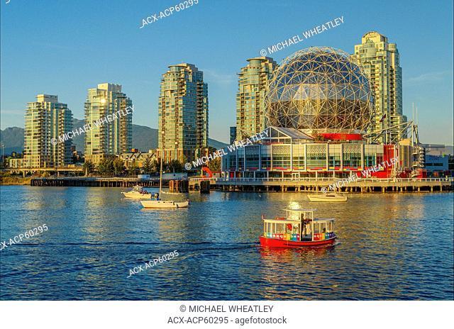 Telus World of Science and Aquabus ferry, False Creek, Vancouver, British Columbia, Canada