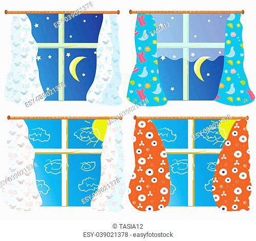 Windows set with pattern curtains in day and night