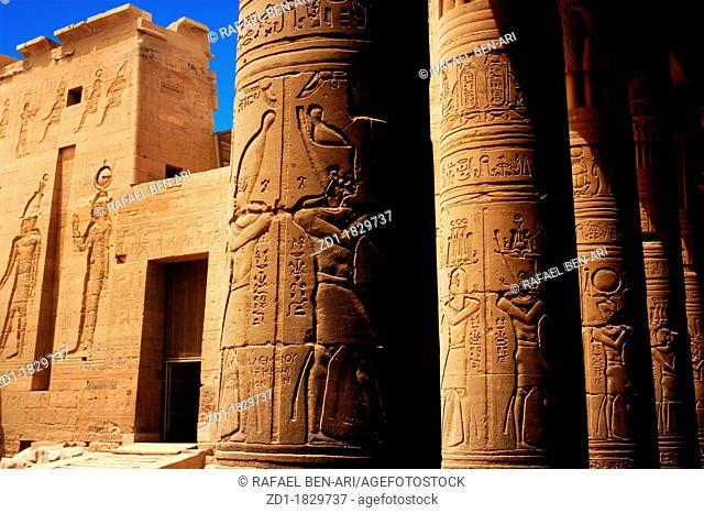 Hieroglyphics outside Temple of Philae, Egypt
