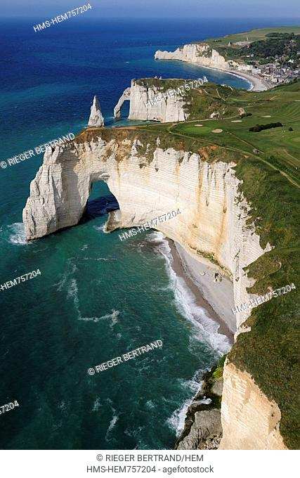France, Seine Maritime, Pays de Caux, Cote d'Albatre Alabaster Coast, Etretat, Aval Cliffs, the Aiguille Creuse and golf course aerial view