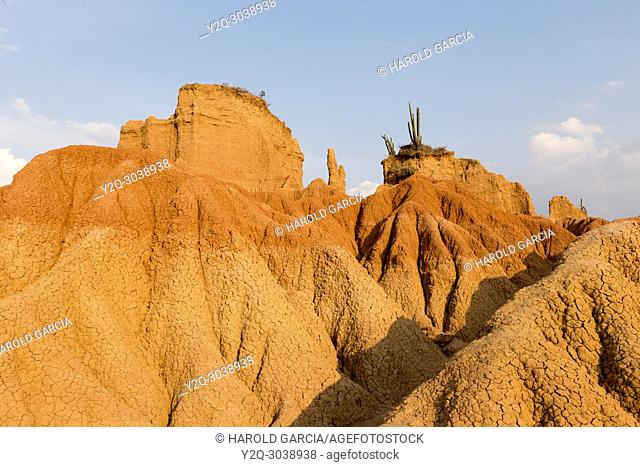Scenic View Of Tatacoa desert red zone with blue sky, Huila, Colombia