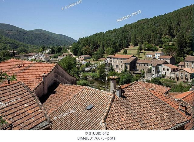 Aerial view of rooftops in rural village