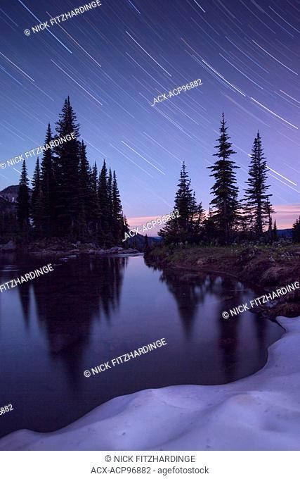 Star Trail at an alpine lake, British Columbia, Canada