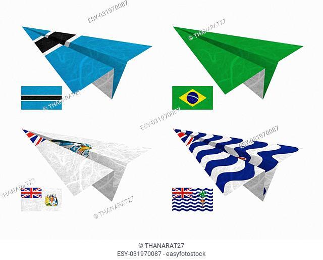 Nation Flag. Airplane recycled paper on white background. ( Botswana , Brazil , British Antarctic Territory , British Indian Ocean Territory )