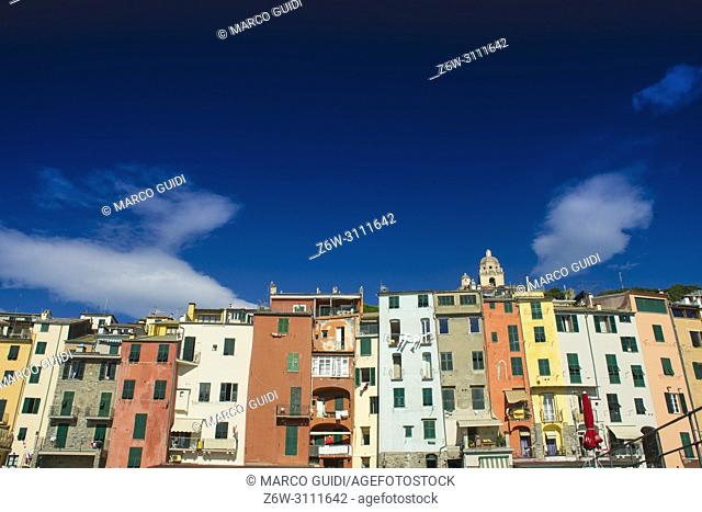 Typical architecture of Portovenere Italy characterized by multicolored houses