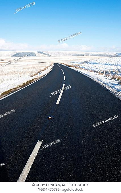 Road A4059 in winter, Brecon Beacons national park, Wales