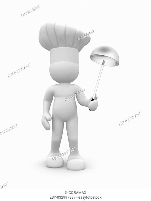 Cook with a ladle in hand - This is a 3d render illustration
