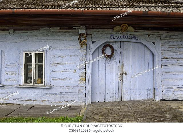 barn gate in the village of Lanckorona, renowned for its well preserved 19th century wooden houses, Malopolska Province (Lesser Poland), Poland, Central Europe