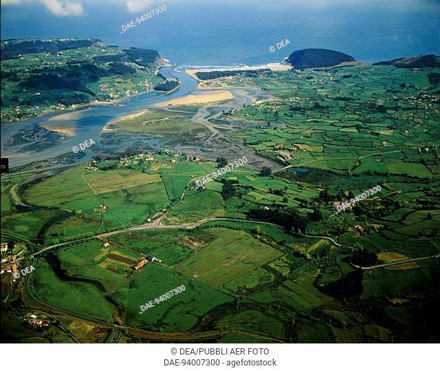 Aerial view of the Rio de Villaviciosa at Tazones - Asturias, Spain