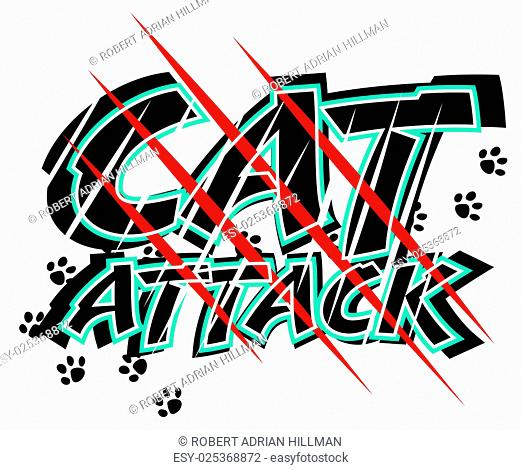 Vector illustration of claw scratch marks through the words cat attack