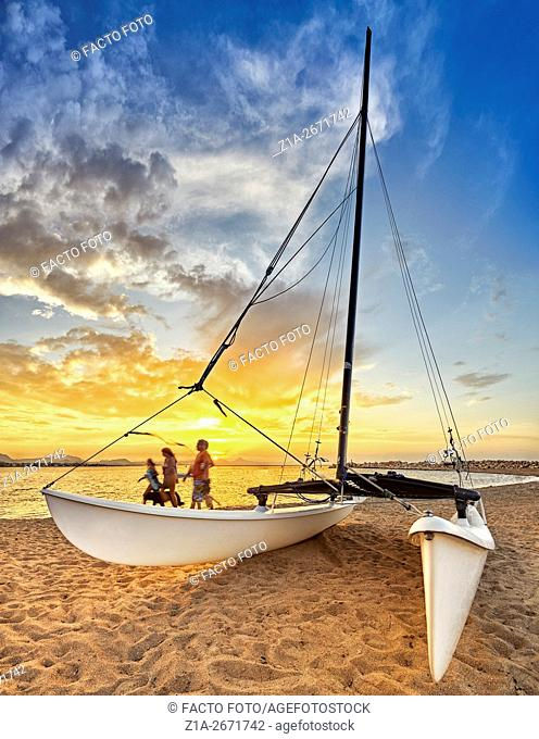 Catamaran at the beach. Denia. Alicante. Valencia Community. Spain