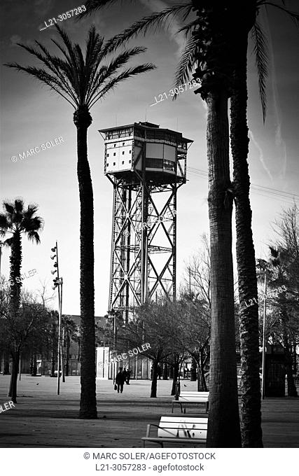 Cable car tower near Barceloneta beach and Port Vell. Designed by Carles Buigas. Built in 1929 for the Universal Exhibition celebrated in Barcelona