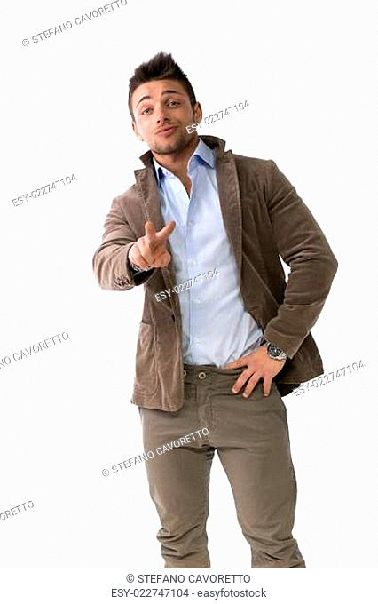 Handsome young man doing victory sign with hand